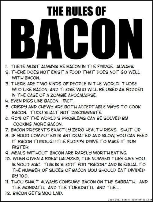 gotta love baconLaugh, Food, Bacon Bacon, Bacon Rules, Funny Stuff, Things, Funnystuff, The Rules, True Stories