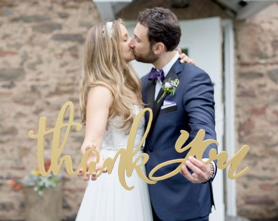 Wooden Thank You Sign Calligraphy Wedding Photo by ZCreateDesign