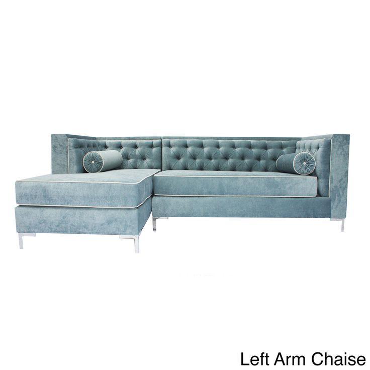 Decenni custom furniture 39tobias39 wedgewood blue tufted 8 for 8 ft sectional sofa