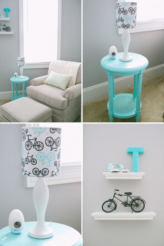 Gray and turquoise nursery with bicycle accents - Photo by Gracie Blue Photography