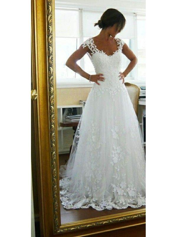 A-line/Princess Scoop Applique Low Back Chapel Train Lace Wedding Dresses