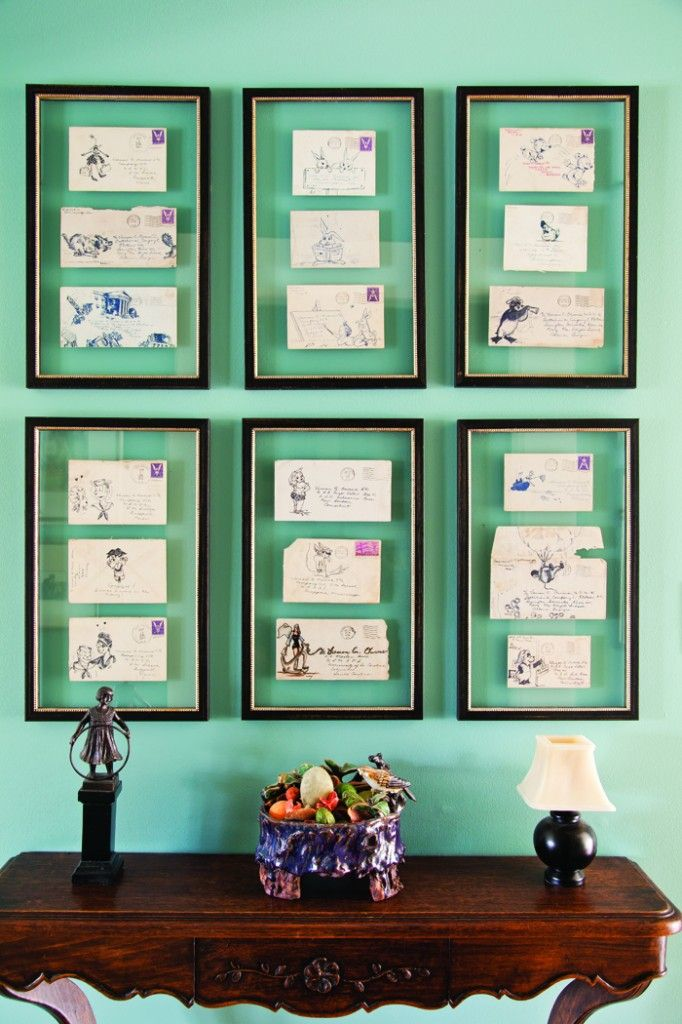 Framed family letters make for a unique and sentimental art feature.