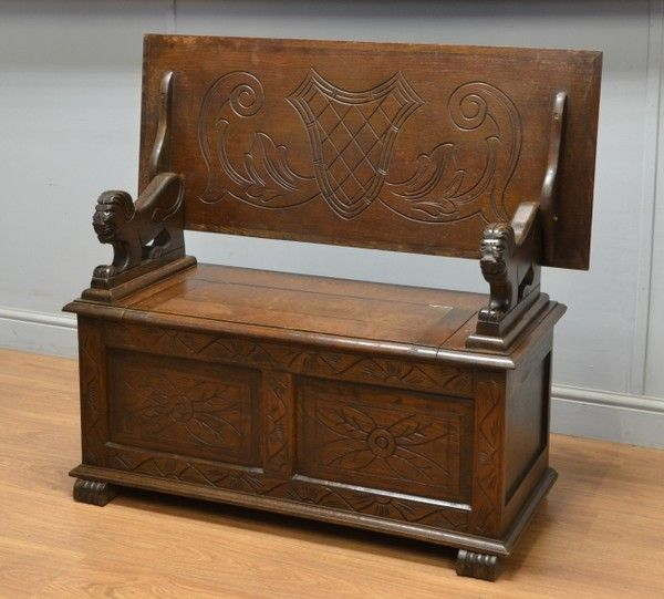 Carved Oak Small Antique Monks Bench Table Decor