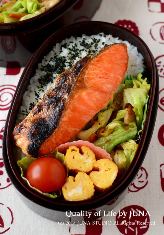 Japanese Bento with Grilled Salmon 鮭弁