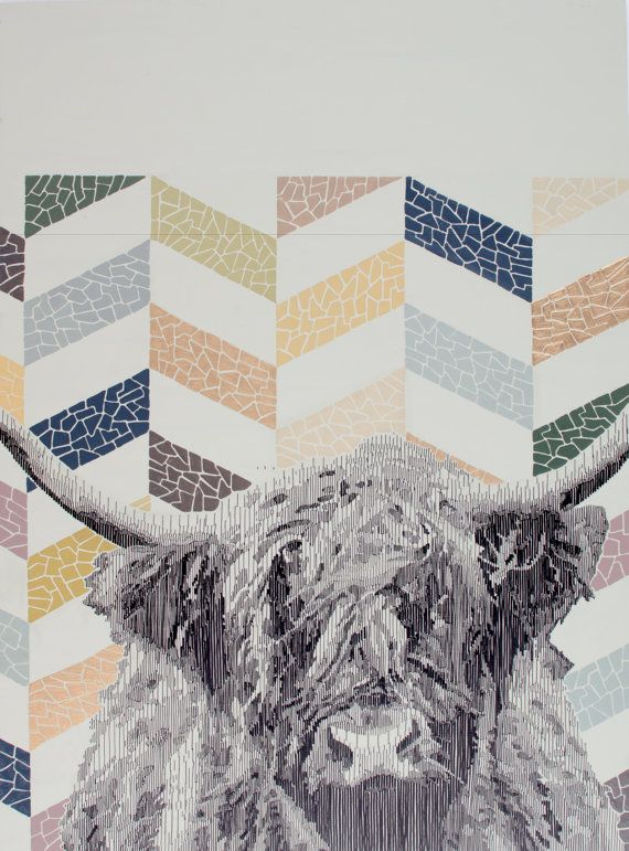 Muckrach  Highland Cow Drawing with Geometric Pattern by EyeJoyArt