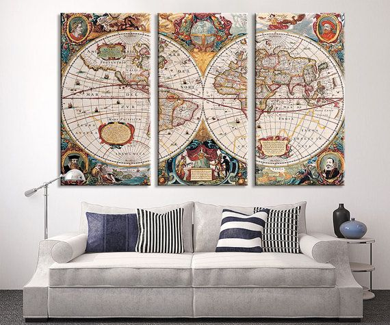 The 119 best watercolor wall art world map images on pinterest large wall art vintage antique world map art canvas print large world map wall gumiabroncs