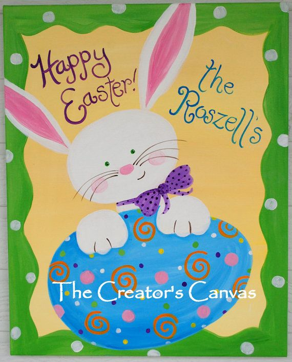 Custom Easter Bunny and Egg Painting Spring by TheCreatorsCanvas