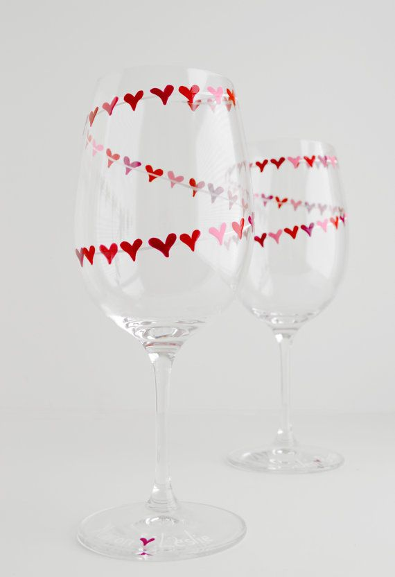 Red and Pink Heart Garland Valentine Wine Glasses by MaryElizabethArts.com $48.00/pair Have them personalized with you and your sweetheart's names