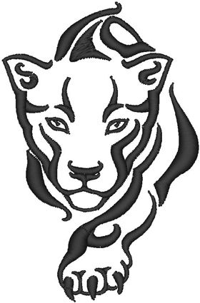 """Panther Head Outline   Hoop Size: Select machine format 4"""" x 4"""" (100mm x 100mm) 5"""" x 7 ..."""