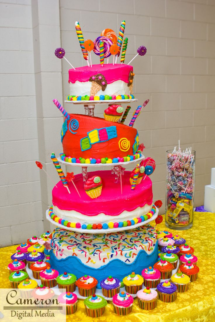 Candy-themed cake.