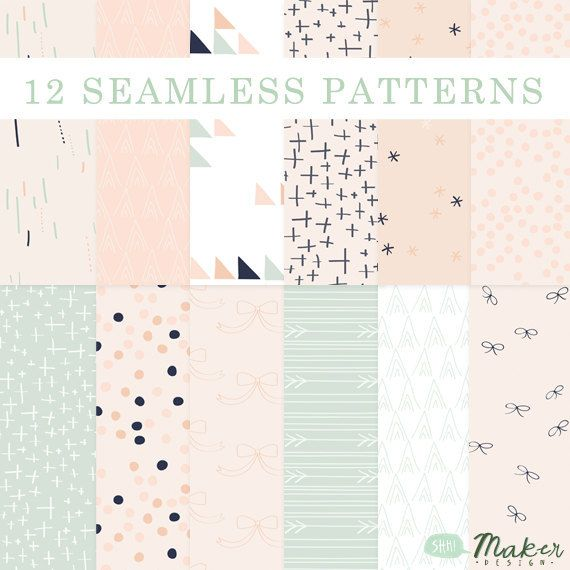 Bows, Arrows  Pretty Little Things - Seamless Patterns - Digital Scrapbook - Blog Backgrounds - Paper Pack