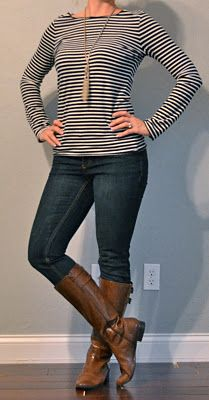Outfit Posts: outfit post: striped long sleeved shirt, skinny jeans, brown boots