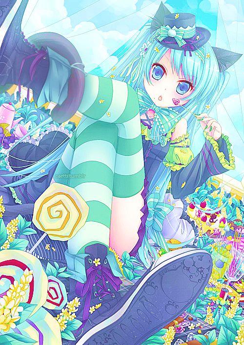 Hatsune miku, une vocaloid très connue que j'admire (japon).