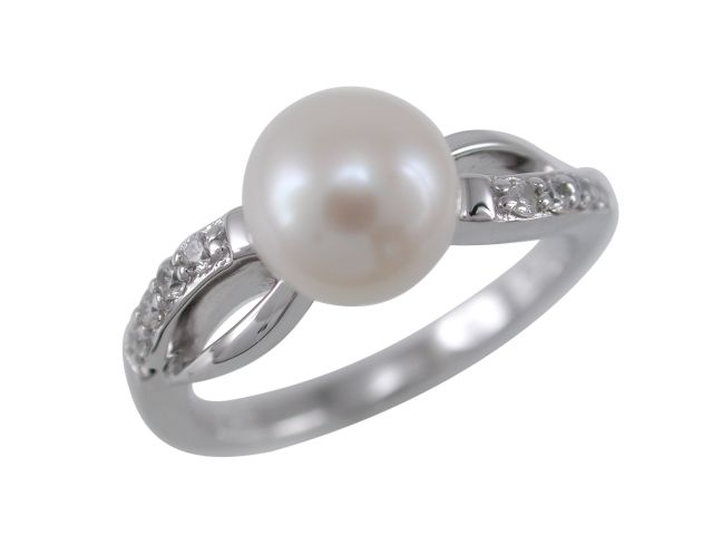 Sterling Silver 7mm White Freshwater Pearl & White Cubic Zirconia Crossover Ring