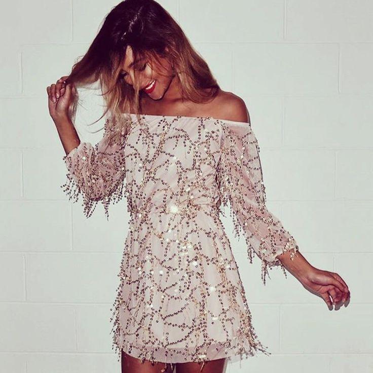 #sequin #maykool #dress #womenfashion #offtheshoulder