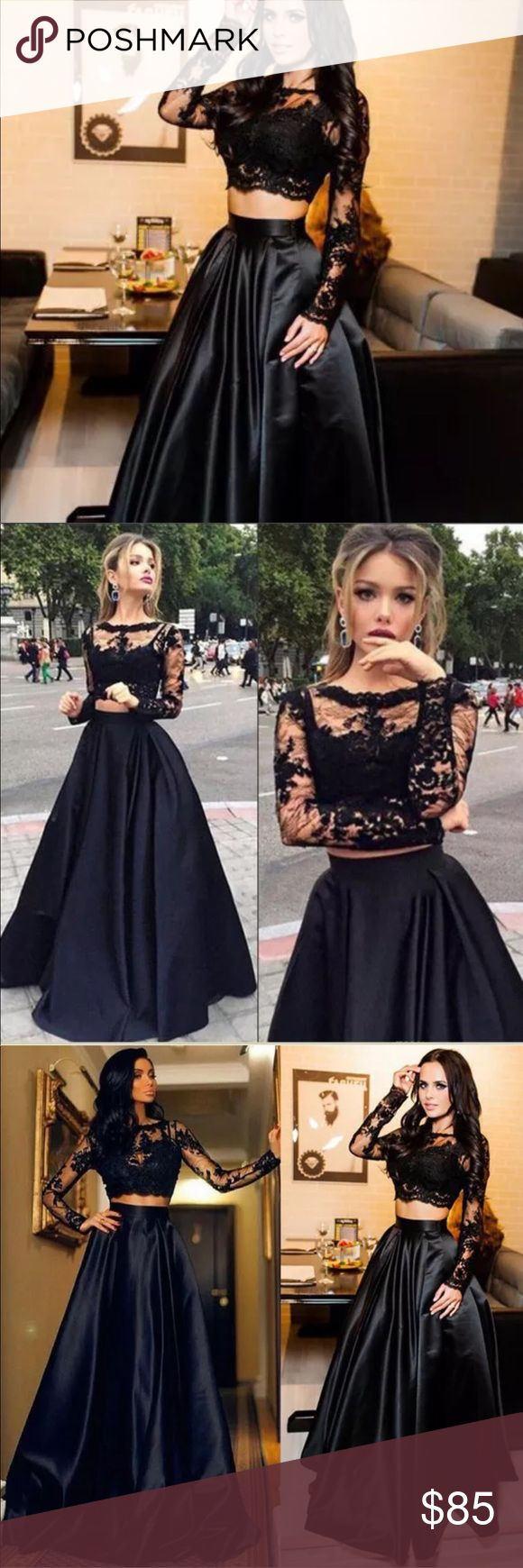 """New! Black Lace Crop Top + High Waist Maxi Skirt New! Black Lace Crop Top + High Waist Maxi Skirt • Available In Size Small • Brand new/ unbranded /boutique • More Sizes coming Soon! Preorder yours for New Year's Eve! Formal/gown/2017 Trend   Small (Tag M): Skirt waist 26-28""""/45"""" long Top: 14"""" shoulders/ 21"""" Sleeves/ 14"""" long / 14"""" waist / 16.5"""" pit to pit   Skirt is black satin with pleats and Zippered closure. 95% poly/5% spandex. Lace top is cropped with long sleeves and a small, discreet…"""