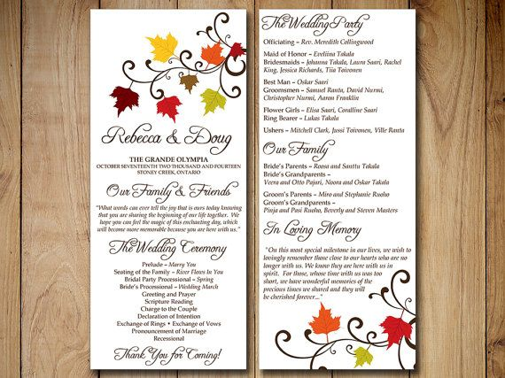 Fall Wedding Program Template Download Tea By PaintTheDayDesigns