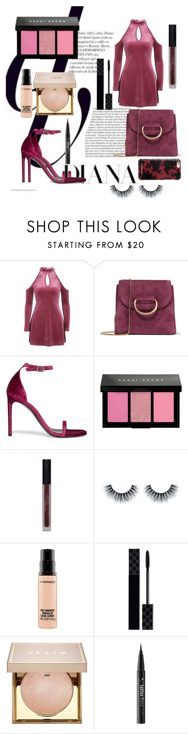 """Velvet Style"" by maria-cristina-7 ❤ liked on Polyvore featuring Little Liffner, Yves Saint Laurent, Bobbi Brown Cosmetics, Huda Beauty, MAC Cosmetics, Gucci, Stila, Kat Von D and Michael Kors"