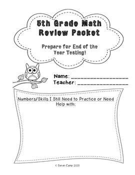 5th Grade Math Review Packet (End of Year Test Prep