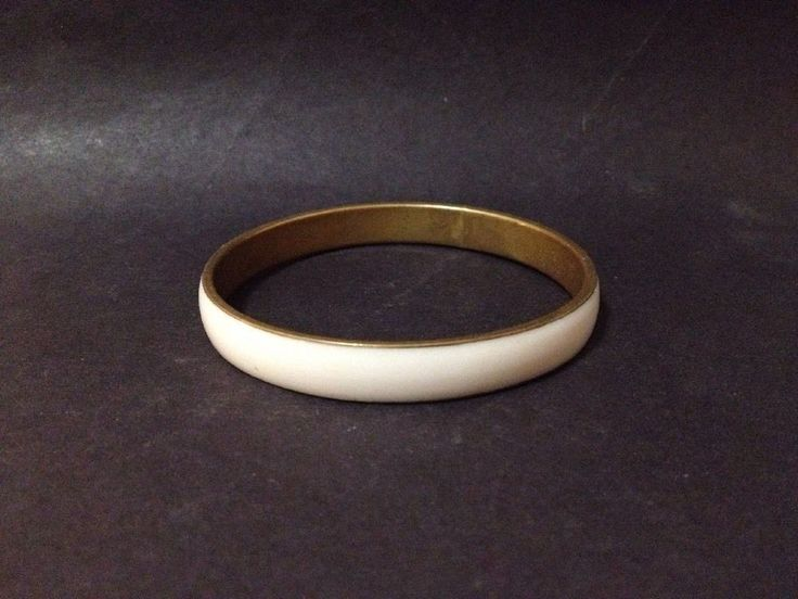 Estate Find - Pre Owned Cream Acrylic and Brass Bangle