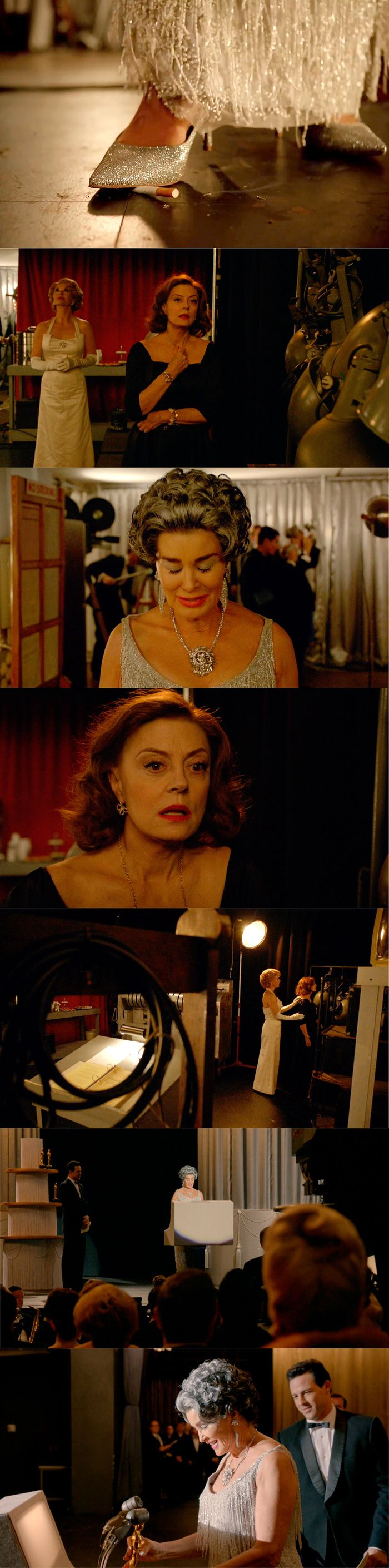 """Feud: """"And the Winner is"""" Jessica Lange as Joan Crawford and Susan Sarandon as Bette Davis backstage at the Academy Awards 1963"""