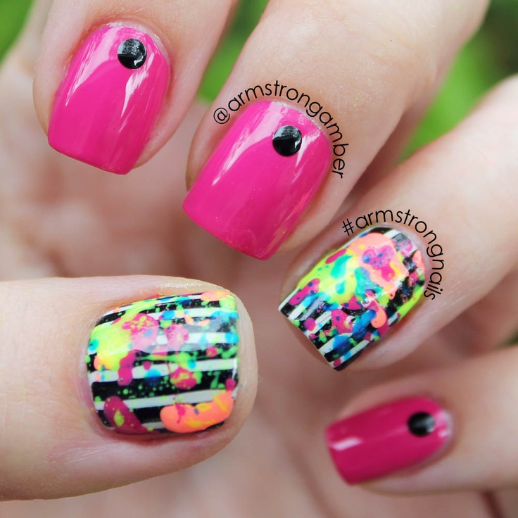 NEON paint splatter nail art w/ stripes - by Amber ...