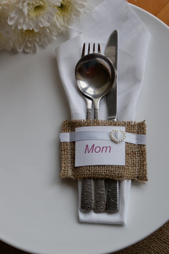 thanksgiving table  Burlap  silverware pocket - place card