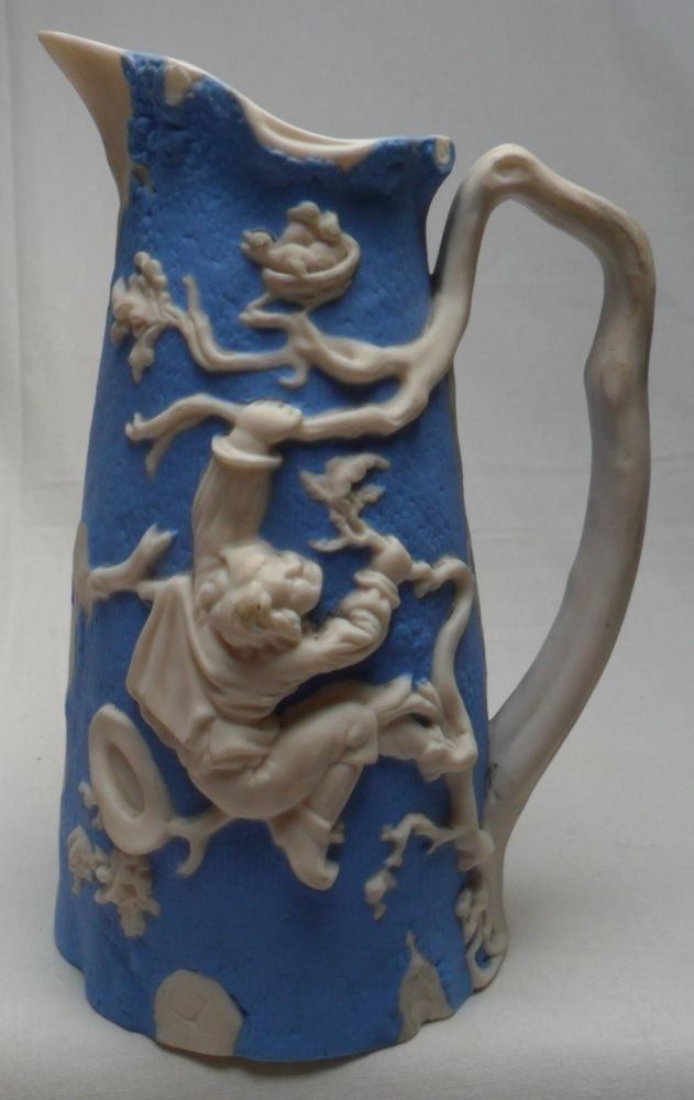 Free Post Uk Antique Dale Hall Pottery Relief Jug Blue