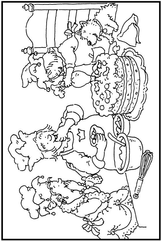 * Kleurplaat: Zelf-taart-bakken!