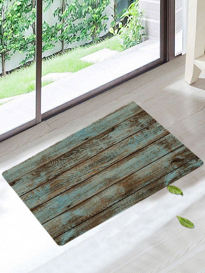 Wood Grain Print Skidproof Area Rug Green W16 Inch L24