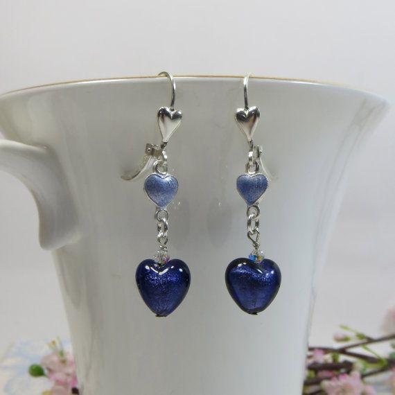 Venetian Hearts Earrings Velluto Viola Purple by SLCDesignsUK