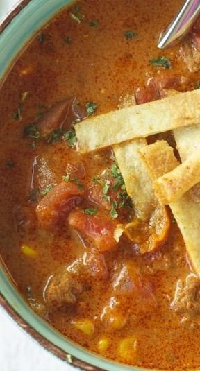 Crockpot Ground Beef Enchilada Soup _ This will give you all the flavors of eating enchiladas in a lightened up version! Serve with tortilla strips & cheese &/or sour cream! (I would add: 1 tsp Cumin, & Substitute with 1 can of Rotel Tomatoes).