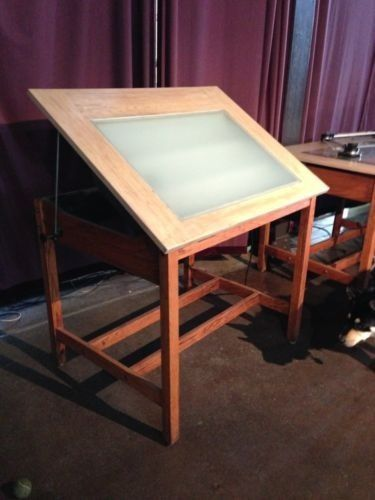 DRAFTING TABLE Antique Light Lighted Architect Desk Furniture Show Room  Display