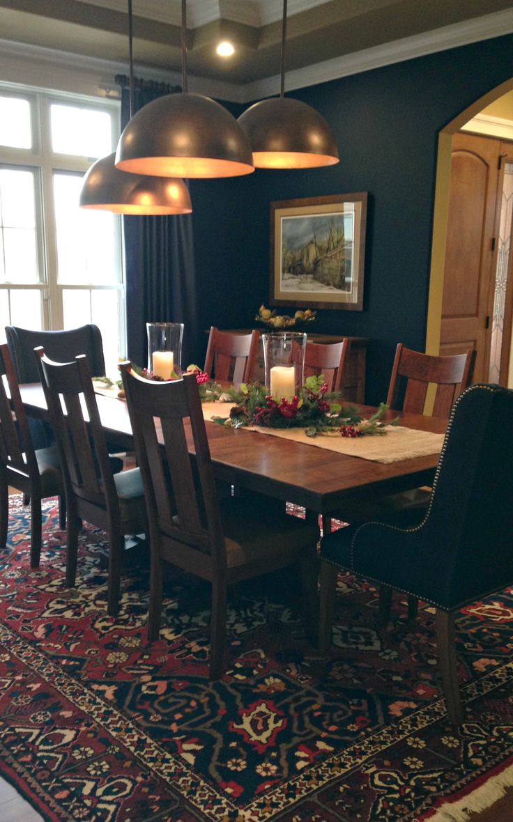 Navy And Red Oriental Rug Under Custom Dining Room Table Chairs Blue Walls