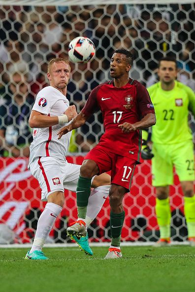 #EURO2016 Nani Kamil Glik during the UEFA EURO 2016 quarter final match between Poland and Portugal at Stade Velodrome on June 30 2016 in Marseille France