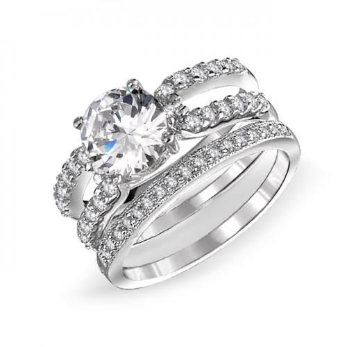 Round CZ Engagement Wedding Ring Set Enhancer Insert 925 Silver