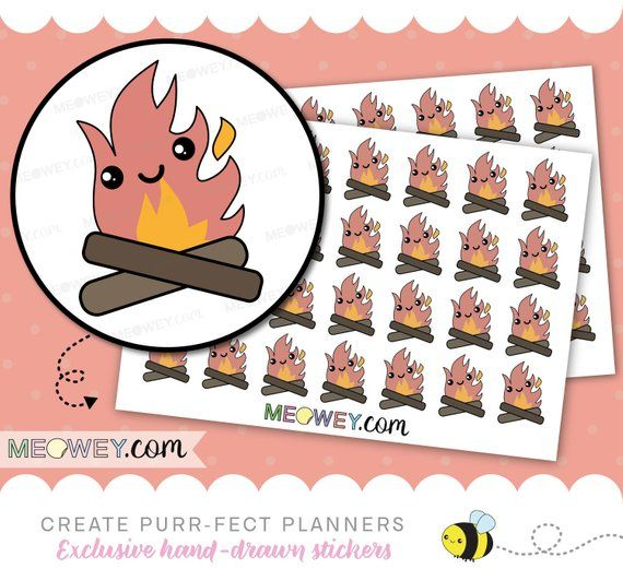 Bon Fire Erin Condren Calendar Planner Sticker Camp Fire Camping Agenda Happy Planner