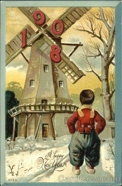 C1908 A Hy New Year Postcard