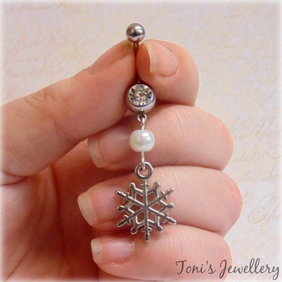 Snowflake Belly Button Ring  Stainless Steel Rhinestone