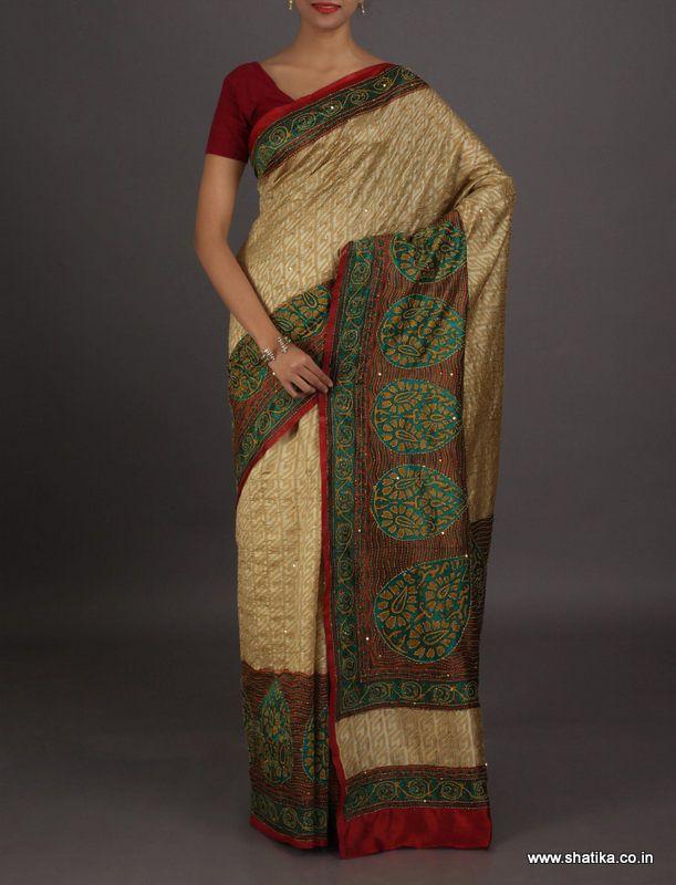 Prarthana bold paan motifs on border #kantha work #puresilksaree