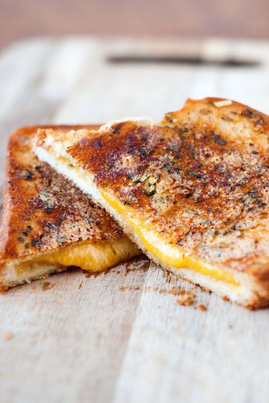 Crispy Garlic Bread Grilled Cheese Sandwiches // VERDICT = Good but could be better // TIP = Use more parmesan on outside.