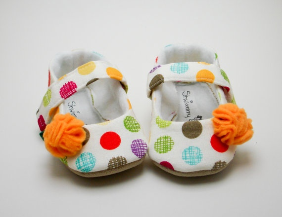 Fruit Punch Polka Dots Mary Janes Baby Shoes by ShwimmyKids, $33.00