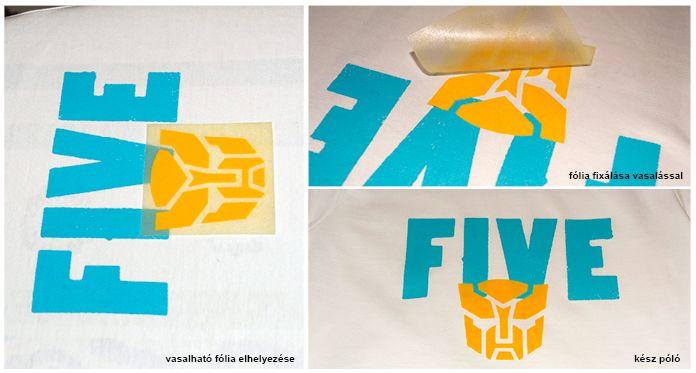 Póló készítése bársonyos vasalható fólia és stencil segítségével