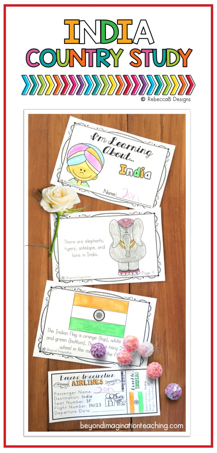 Such a cute book! India Country study booklet project for little learners. #country #study #tpt #teacher #ideas #socialstudy #India #book #booklet