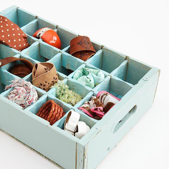 Soda Crate Organizer: Home Organizations Tips, Idea, Drawers Dividers, Closet Organizations, Sodas Bottle, Belts Storage, Old Crates, Scarfs Storage, Belts Organizations