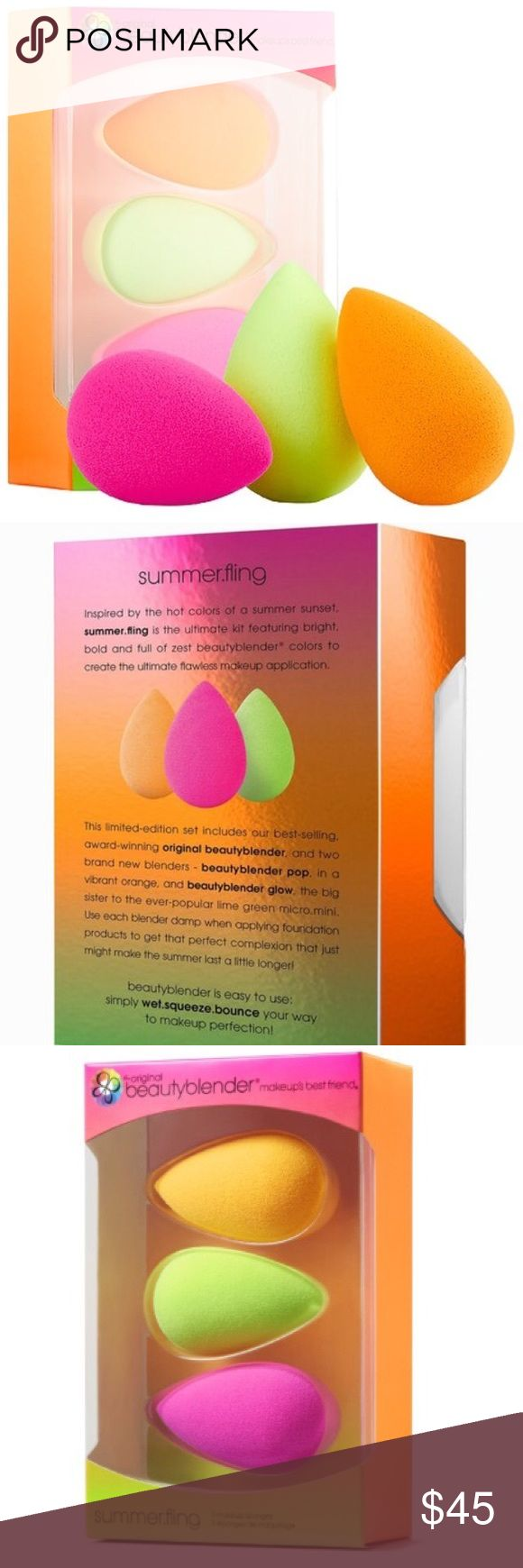NIB: Beauty Blender Summer Fling Set NIB. Never opened the box. Includes three full size Beauty Blenders in pink, green, and orange. Great way to stock up and save! Smoke free home. Reasonable offers please. No trades Sephora Makeup Brushes & Tools