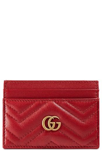 Free shipping and returns on Gucci GG Marmont Matelassé Leather Card Case at Nordstrom.com. A trim leather card case is made extra special with signature matelassé chevrons and double G hardware in a warm golden tone.