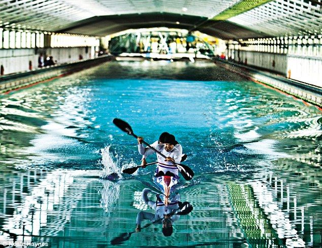 CANOEING, TESTING IN SUBMARINE TANK: Live witnessed Jon Schofield and Liam Heath paddling up and down the 270m pool