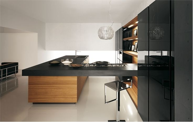 Awesome 25 Modern Kitchens In Wooden Finish : 25 Modern Kitchens In Wooden Finish With White Black Kitchen Island Cabinet Table Sink Oven Stove Chandelier Sofa And White Ceramic Floor
