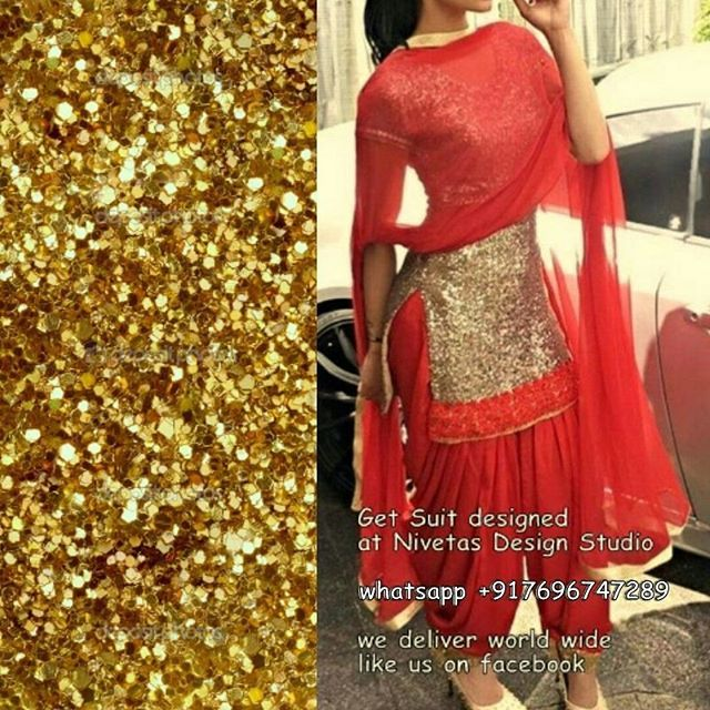 Punjabi Patiala Salwar Suit beautiful golden Punjabi salwar suit, sequence work,  get this in your desired colour combination, going to be customized  according to your size  world wide shipping.  for purchase query whatsapp +917696747289 email: nivetasfashion@gmail.com visit us at https://www.facebook.com/punjabisboutique  #PunjabiSalwarSuit #PartyWearSuit #PatialaSalwarSuit  Pinterest : @nivetas